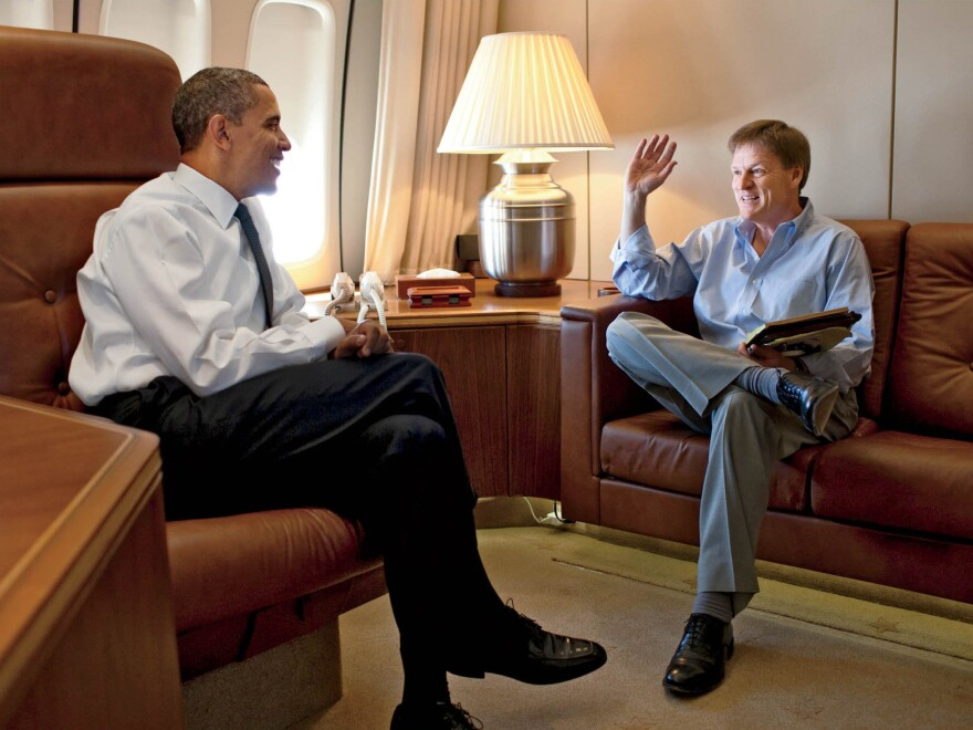 In this photo from the October issue of <em>Vanity Fair</em>, writer Michael Lewis interviews Obama.