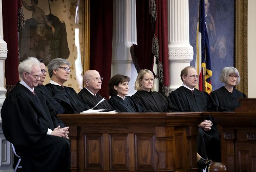 Texas Criminal Court of Appeals judges at the state Capitol in January.