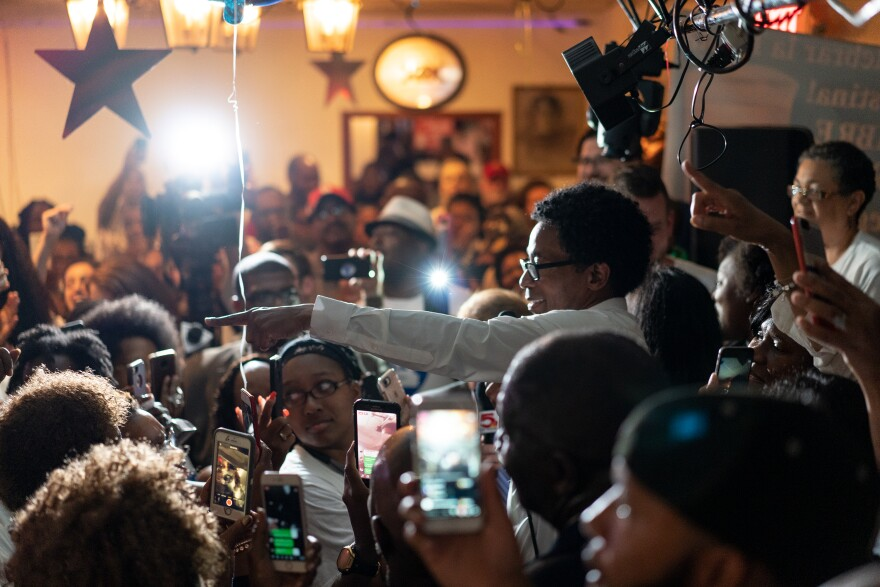 A standing-room-only crowd at La Mexicana in St. Ann listens to Wesley Bell's victory speech, which included Bell thanking many of the people who helped organize and support his campaign. Aug 7, 2018