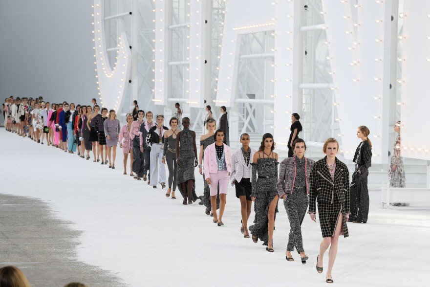 Models walk the runway during the Chanel Womenswear Spring/Summer 2021 show as part of Paris Fashion Week on Oct. 06, 2020.
