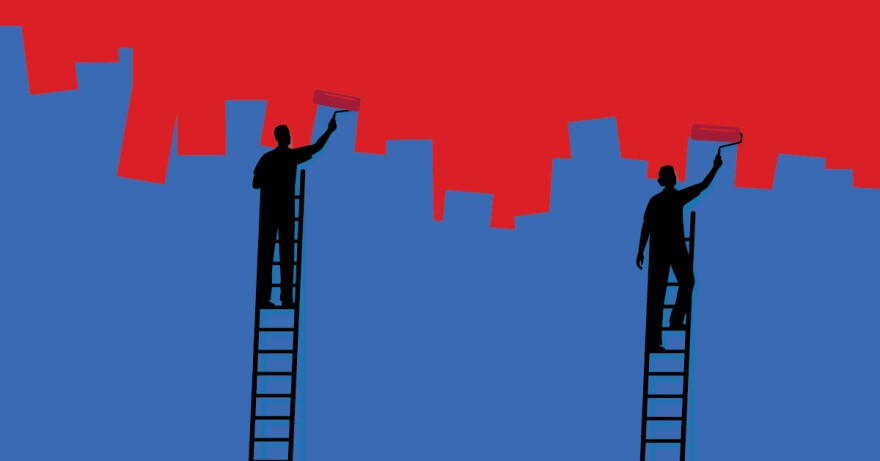 Illustration of two people on ladders painting a blue wall red