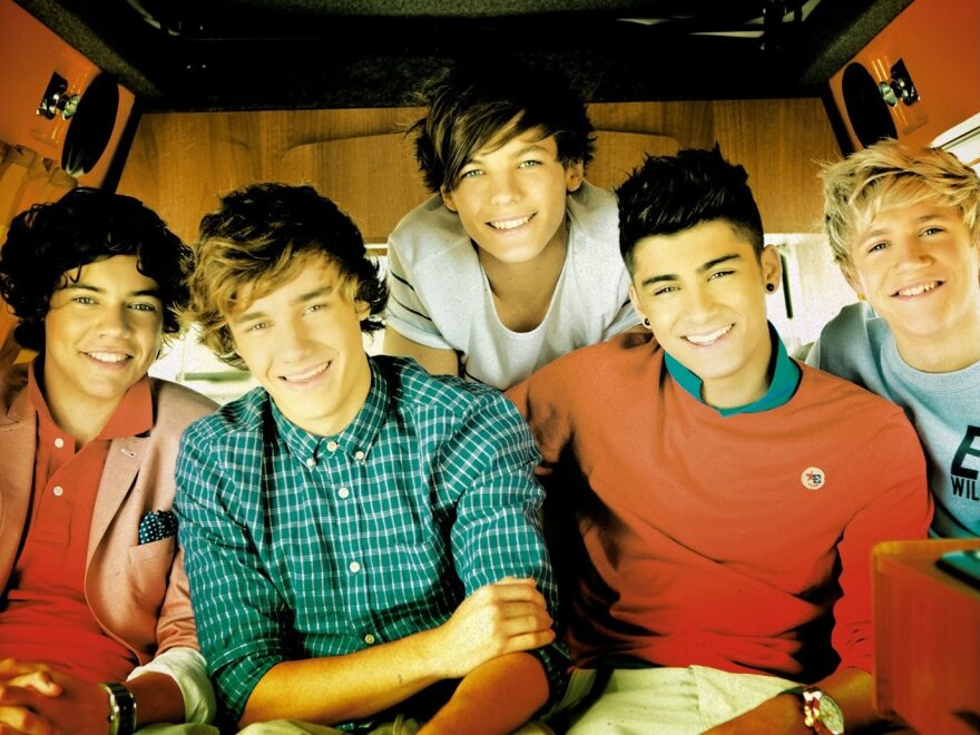 """One Direction, from the cover of its single, """"What Makes You Beautiful."""""""