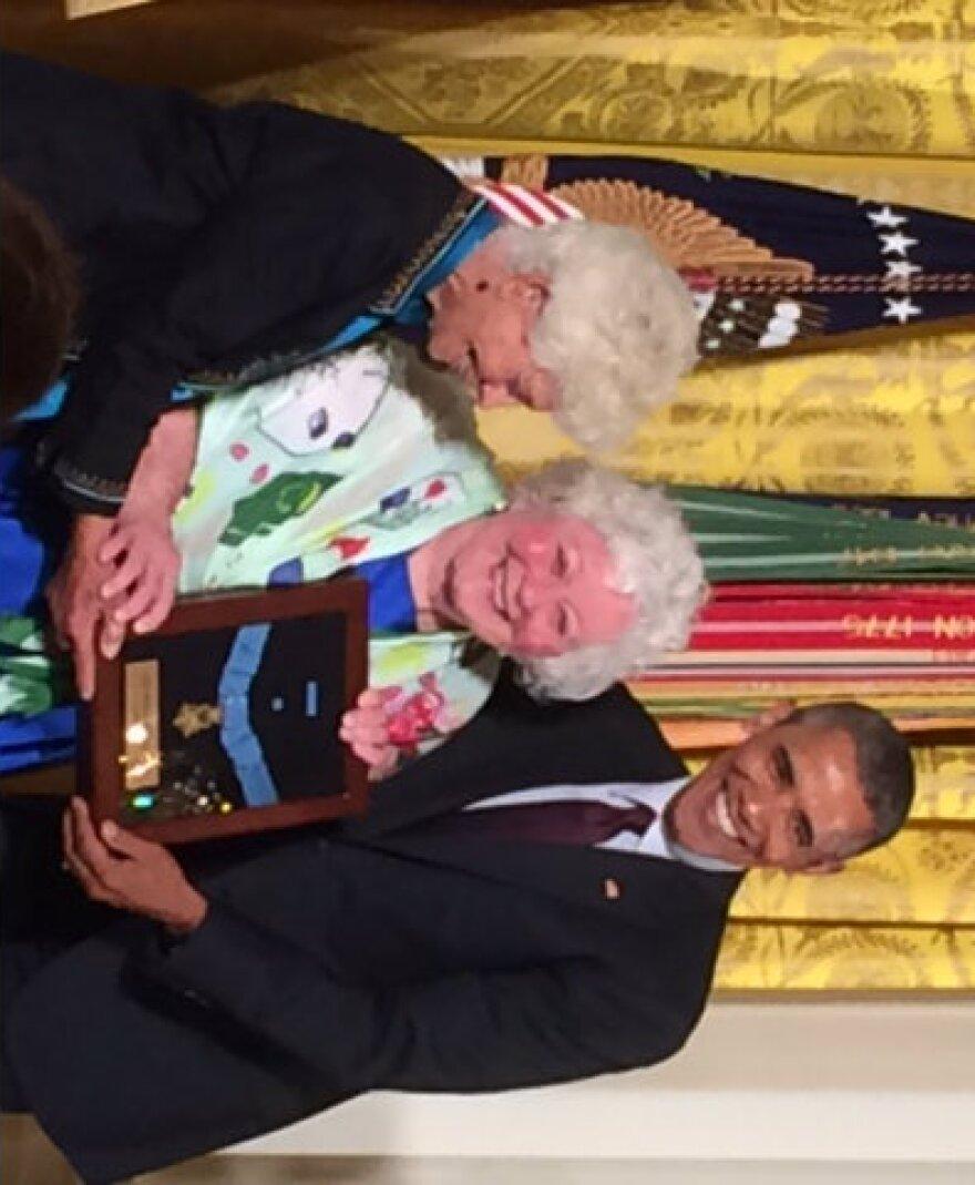Ina Bass, Elsie Shemin-Roth and President Barack Obama