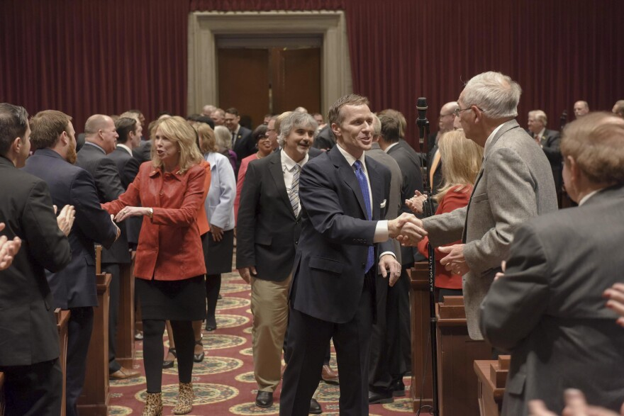 Missouri Gov. Eric Greitens greets his fellow elected officials during the 2018 State of the State speech. Later that night, KMOV reported that Greitens acknowledged an extramarital affair.