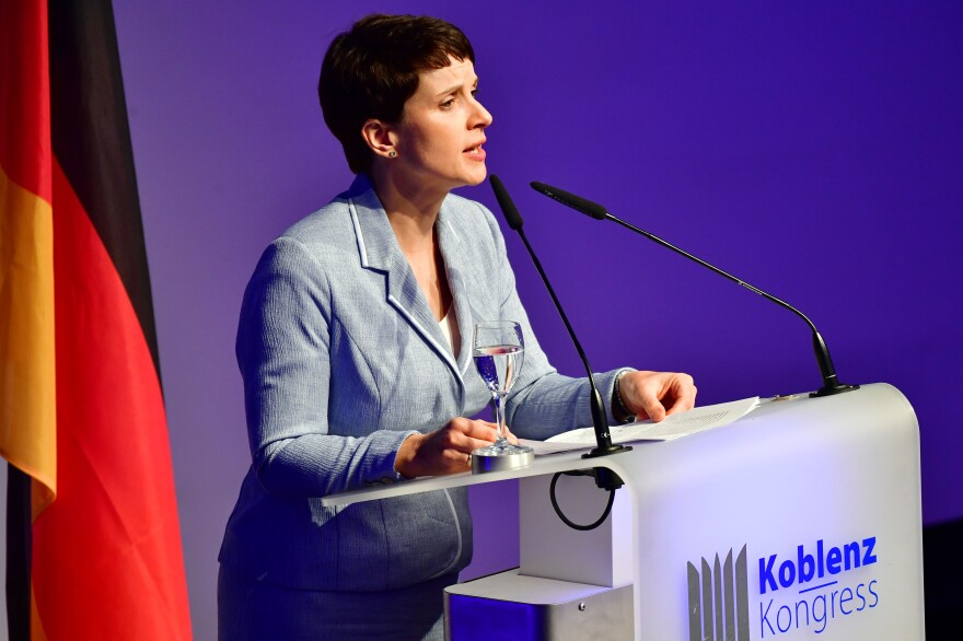 Frauke Petry, leader of the Alternative for Germany (AfD) political party, speaks at a conference of European right-wing parties on January 21 in Koblenz, Germany.