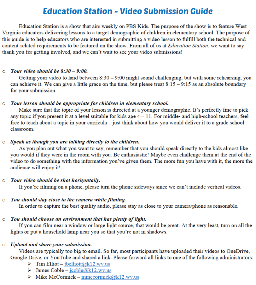 Guidelines for Education Station video submissions by educators.