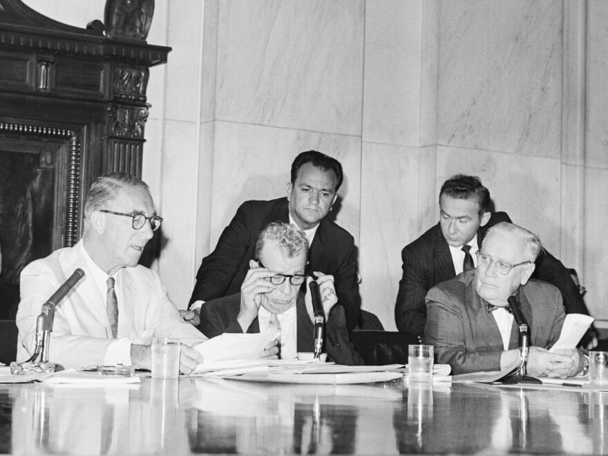 Sen. Estes Kefauver, D-Tenn., (left) and Sen. Everett Dirksen, R-Ill., (second from left) clashed at the reopening of a Senate drug investigation in 1960 over whether witnesses could be forced to reveal business secrets while testifying.