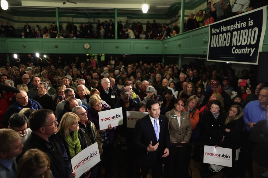 Marco Rubio is interviewed on live television before holding a campaign rally in the Exeter Town Hall Tuesday in Exeter, N.H.