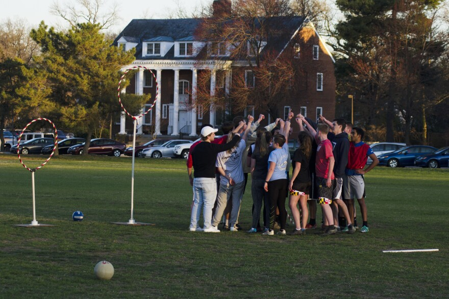 Members of the University of Maryland quidditch team gather at the end of a recent practice. Though research is limited, some who play the game are starting to think more seriously about whether the rules of the sport need to be reevaluated.