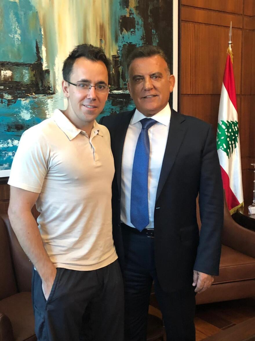 Goodwin (left) with top Lebanese security official Maj. Gen. Abbas Ibrahim. The Lebanese official played a crucial role in securing Goodwin's release from Syrian prison.