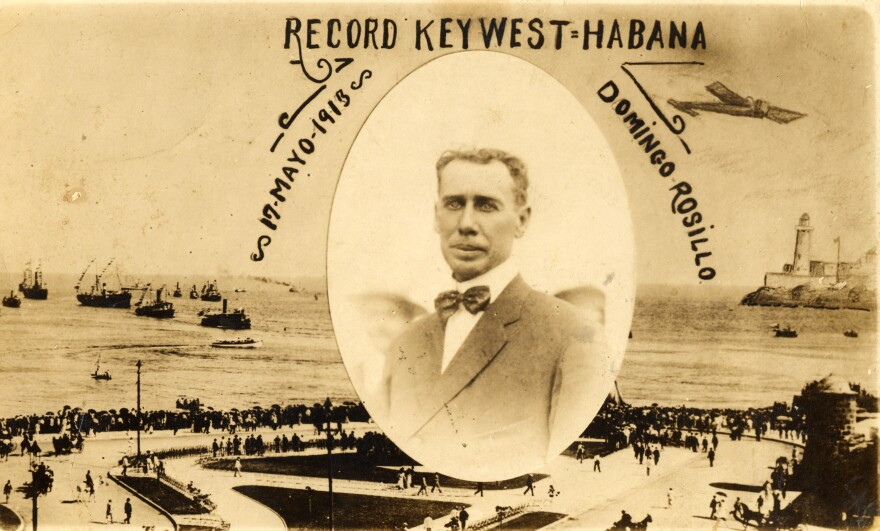 A postcard celebrating Domingo Rosillo, who made the first flight from Key West to Cuba in 1913.