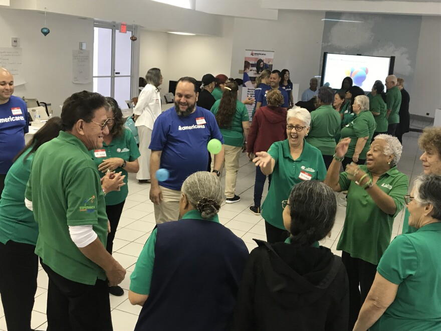 At a retirement community in Rio Piedras, exercises help volunteers who work with the elderly learn to cope with emotional stress.