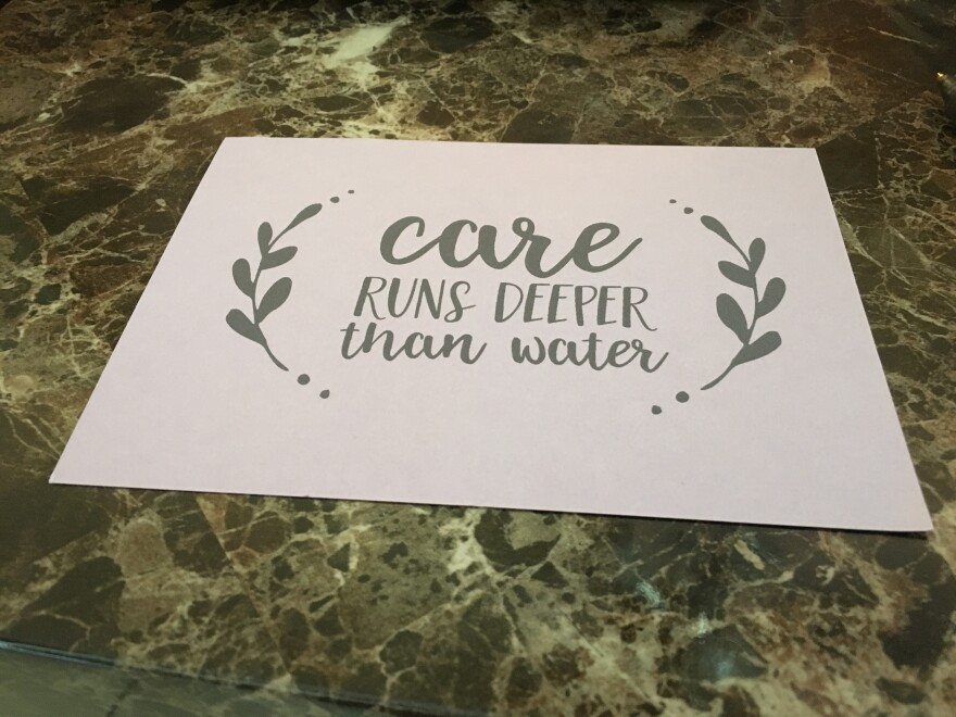 Wasson's daughter designed thank you cards for the people who came to help during the May 2017 flood. Wasson has about 50 of these letters to send out.