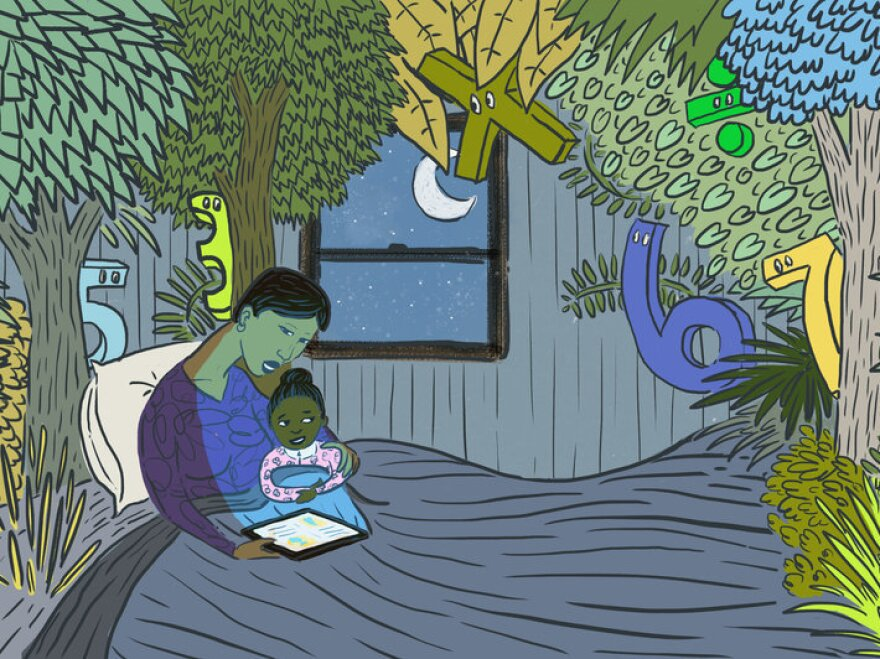 A mother reads her daughter bedtime stories with numbers.