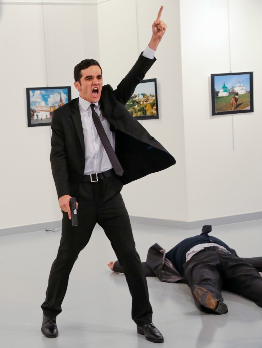 An Associated Press photographer at the scene reports this man shot Andrei Karlov, the Russian ambassador to Turkey, at a photo gallery in Ankara on Monday.