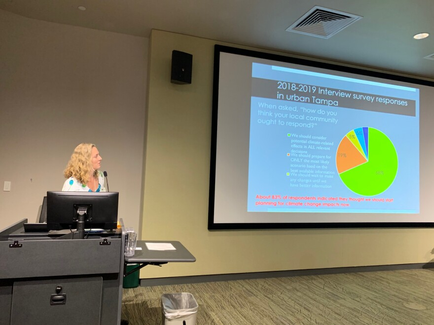 USF anthropologist Rebecca Zarger presents preliminary findings of a survey on how Tampa residents feel about climate change. S