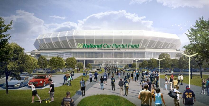 A rendering of National Car Rental Field, the name new for the proposed football stadium on St. Louis' riverfront.