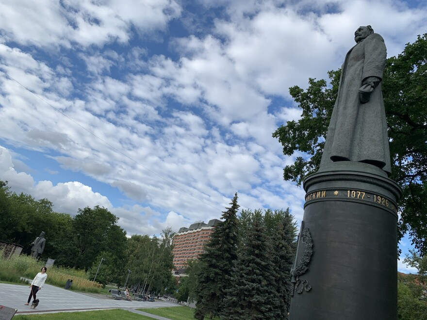 The statue of KGB founder Felix Dzerzhinsky stands in Fallen Monument Park.