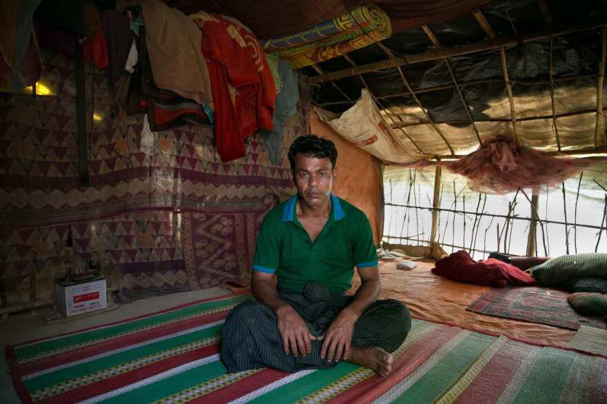Sona Meah in his hut at the Hakimpara refugee camp in Bangladesh.