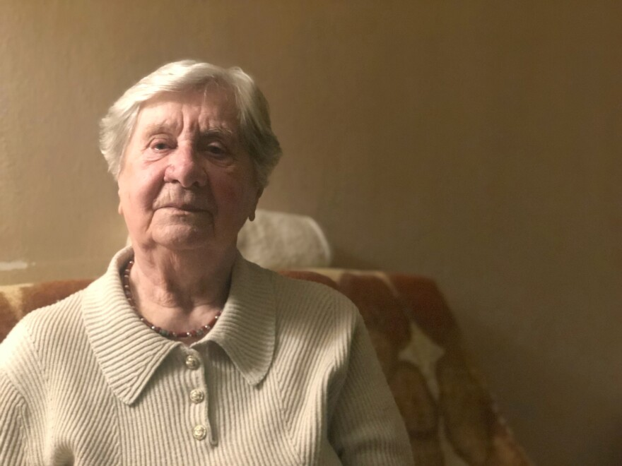 Janina Iwanska, 89, is photographed in her Warsaw apartment. She was sent to Auschwitz after she was separated from her parents at the age of 14 during the Warsaw Uprising in 1944 when the Nazis laid siege to the city. She arrived at the death camp at the height of its exterminations, when the SS guards killed 330,000 people in a span of eight weeks.
