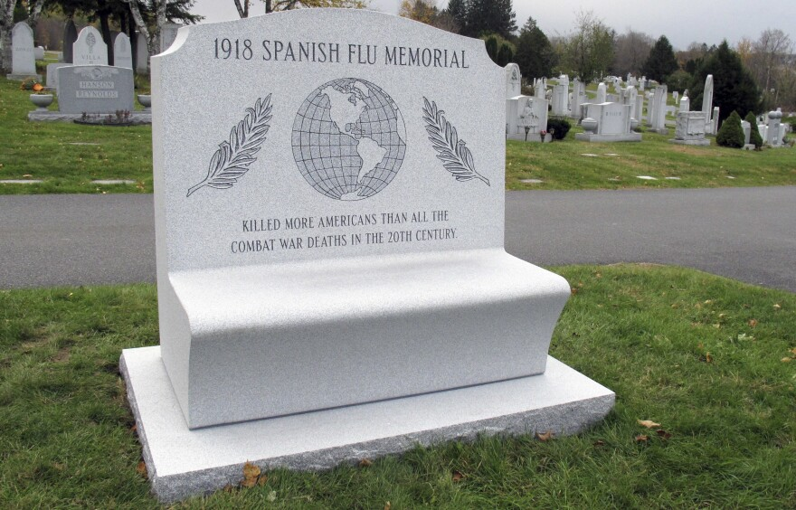 Brian Zecchinelli installed this monument to 1918 flu pandemic victims in Hope Cemetery in Barre, Vt. Zecchinelli's grandfather died when the flu swept through Vermont in the fall of 1918.
