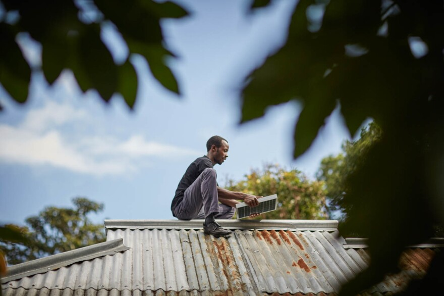 Panels on the roof are part of the Off-Grid's solar energy kit.