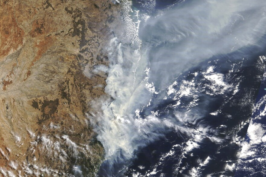 Bushfires in the eastern part of Australia's New South Wales state are visible from space in this photo taken by NASA.