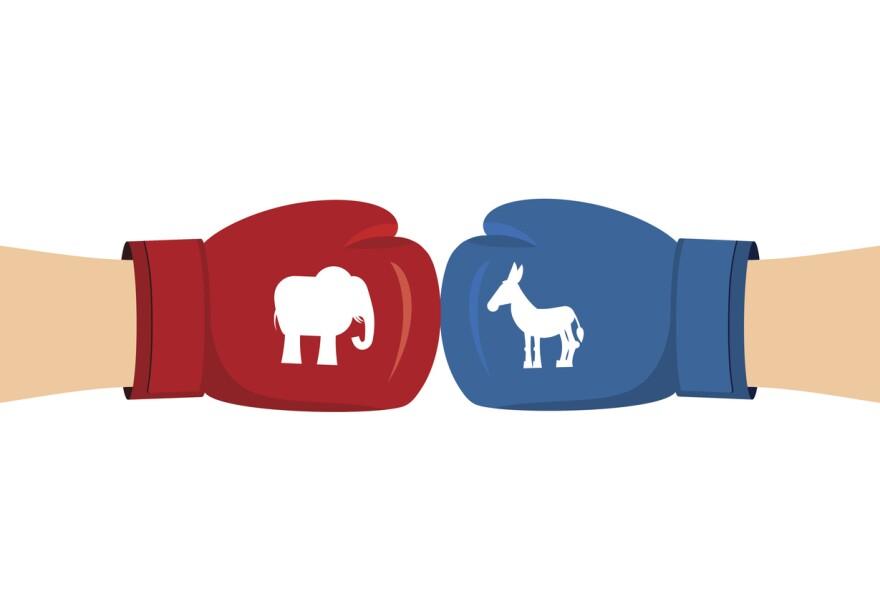 An illustration of Elephant and Donkey boxing gloves.