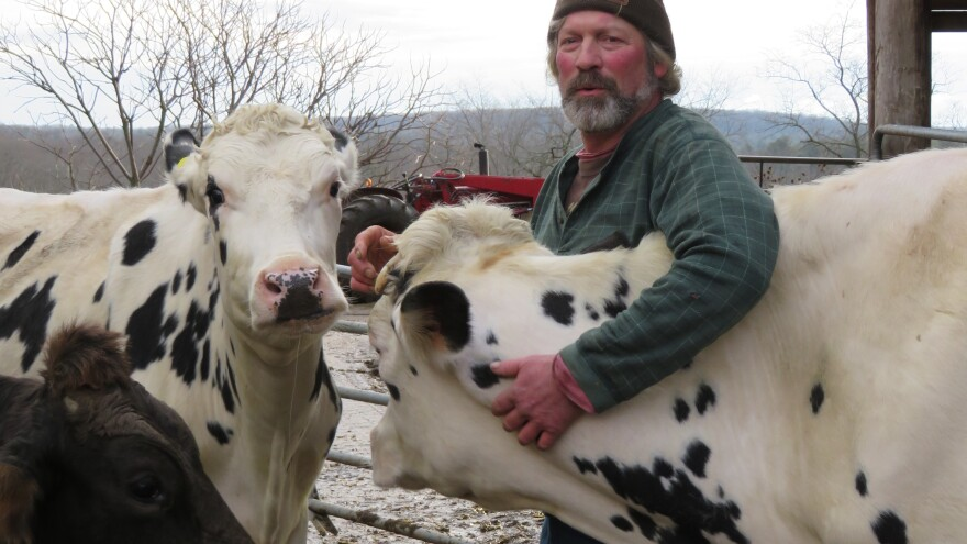 """Rogers says dairy farming is """"all I ever wanted to do,"""" but he doesn't know how much longer he can keep his farm going. Milk prices have dropped so low, he's getting paid only about 75 percent of his production costs."""