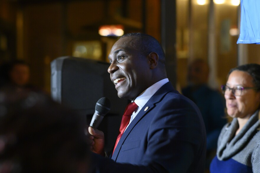 St. Louis Board of Alderman President Lewis Reed declares victory on Tuesday, March 5, 2019, after defeating three other candidates for re-election.