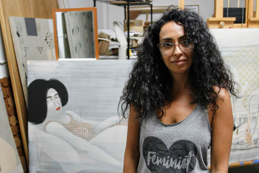 Hayv Kahraman in her Los Angeles studio.