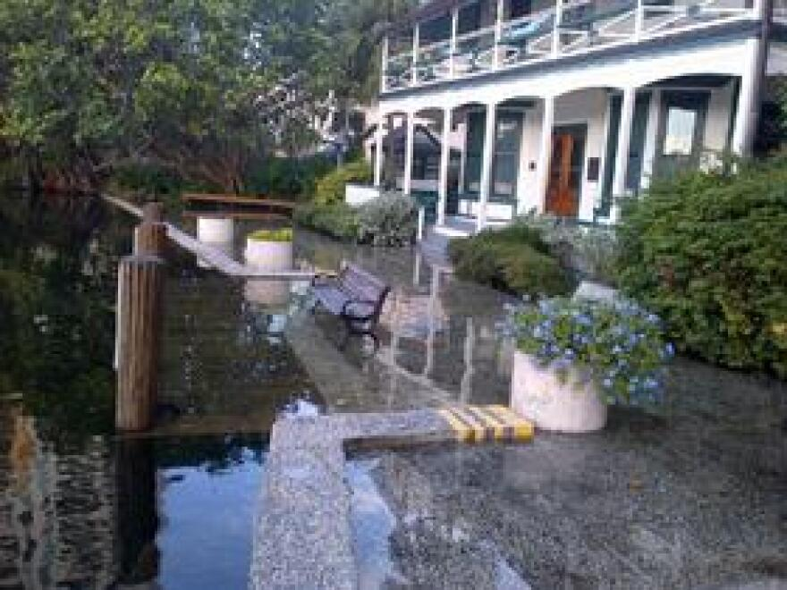 The historic Stranahan House in Fort Lauderdale, during king tide flooding in 2013.