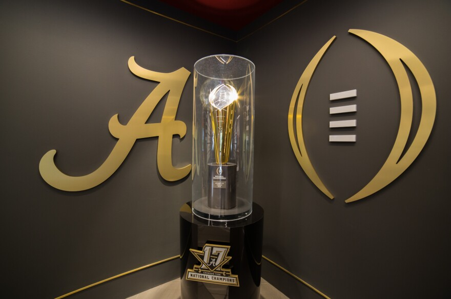 The 2017 National Championship trophy is the fifth Alabama has won under Coach Nick Saban. It's displayed in a hall showcasing the team's four other trophies and other notable accomplishments.