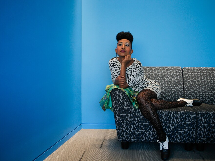 """Alsarah strikes a pose. She calls her music """"East-African Retro-Pop."""""""
