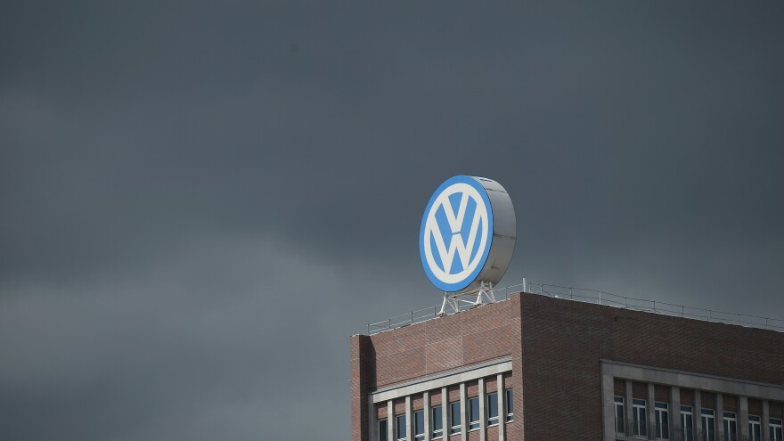 The logo of German automaker Volkswagen AG can be seen on an administrative building at the Volkswagen factory on the day of the company's annual press conference on April 28 in Wolfsburg, Germany.