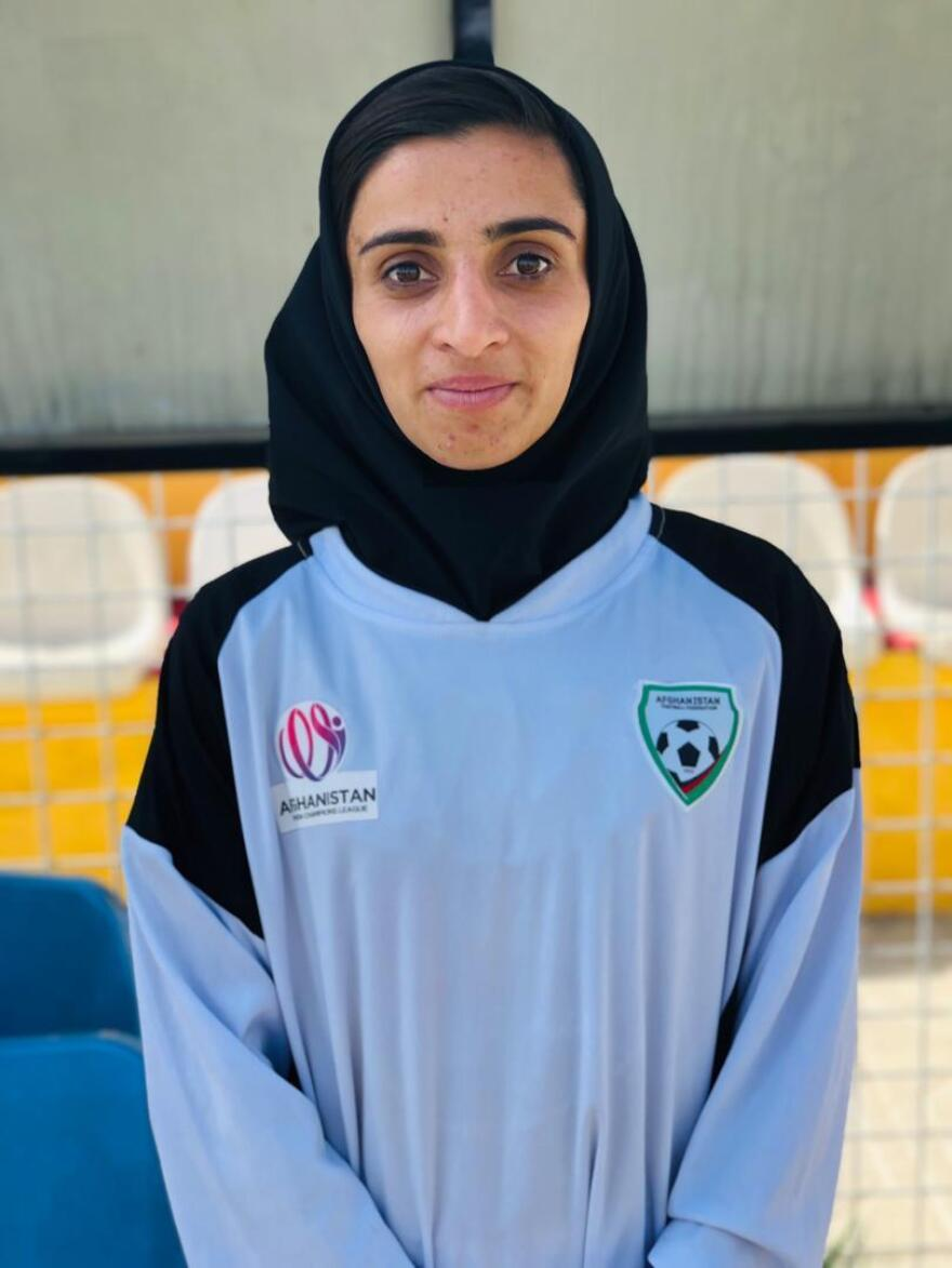 Portrait of Sabria Nawrozi, 20, the captain of Herat Storm.
