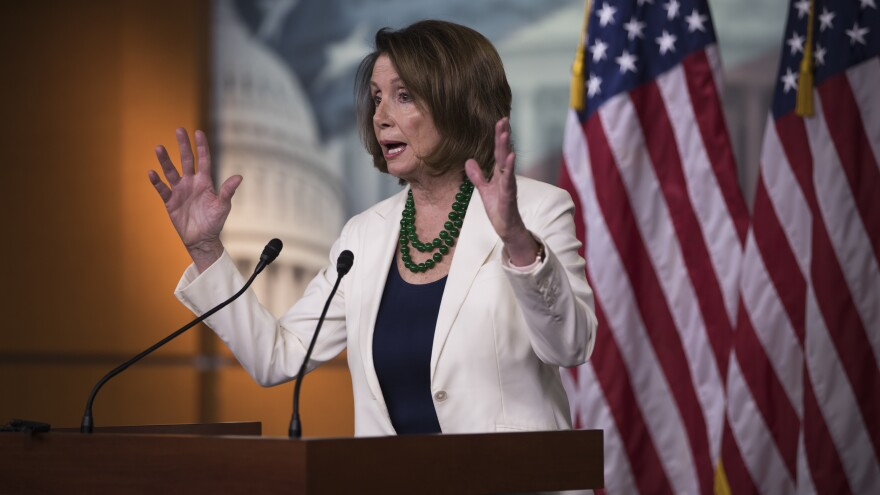 """House Minority Leader Nancy Pelosi, D-Calif., at a news conference on Thursday, where she called the Pennsylvania special election this week an """"upset"""" win and hopes that Democrat Conor Lamb will be sworn in soon."""