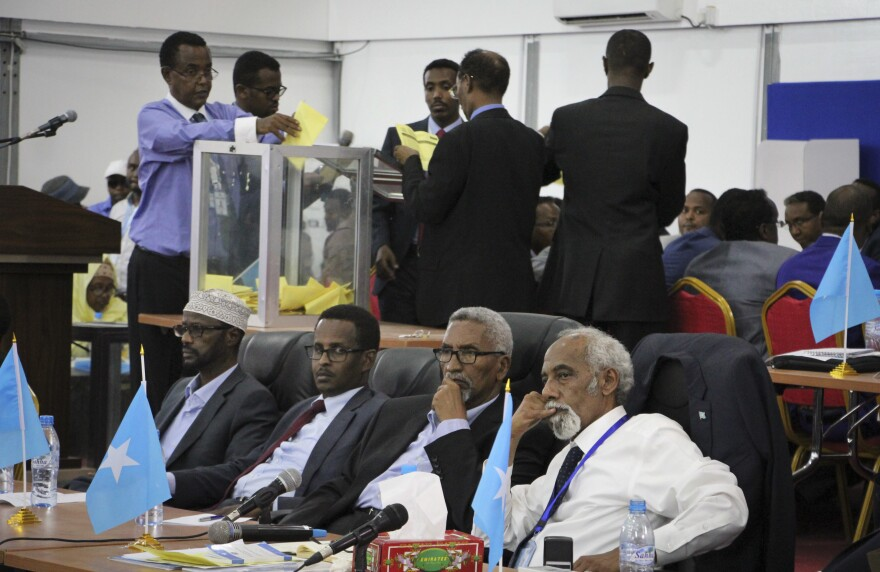 Votes cast by Somali parliamentarians are counted in the first round of the presidential election on Wednesday in the capital, Mogadishu.