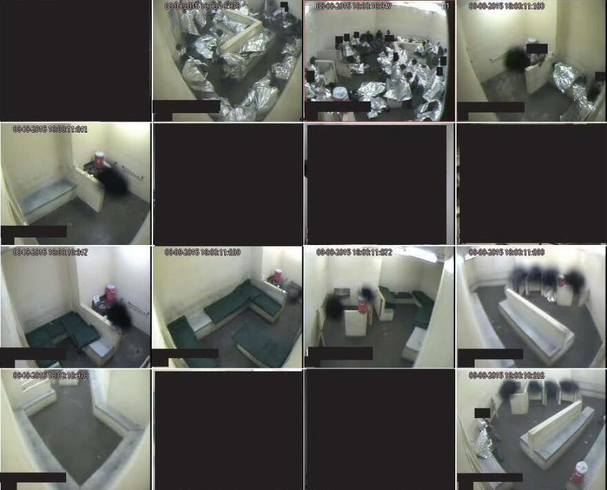 Various surveillance images from August 2015 at a Border Patrol holding facility in Tucson show men crowded into a few cells and lying on concrete with no mats, while other cells are empty and contain unused mats. Plaintiffs in a lawsuit over the use of such holding centers point out water being stored in toilet areas.