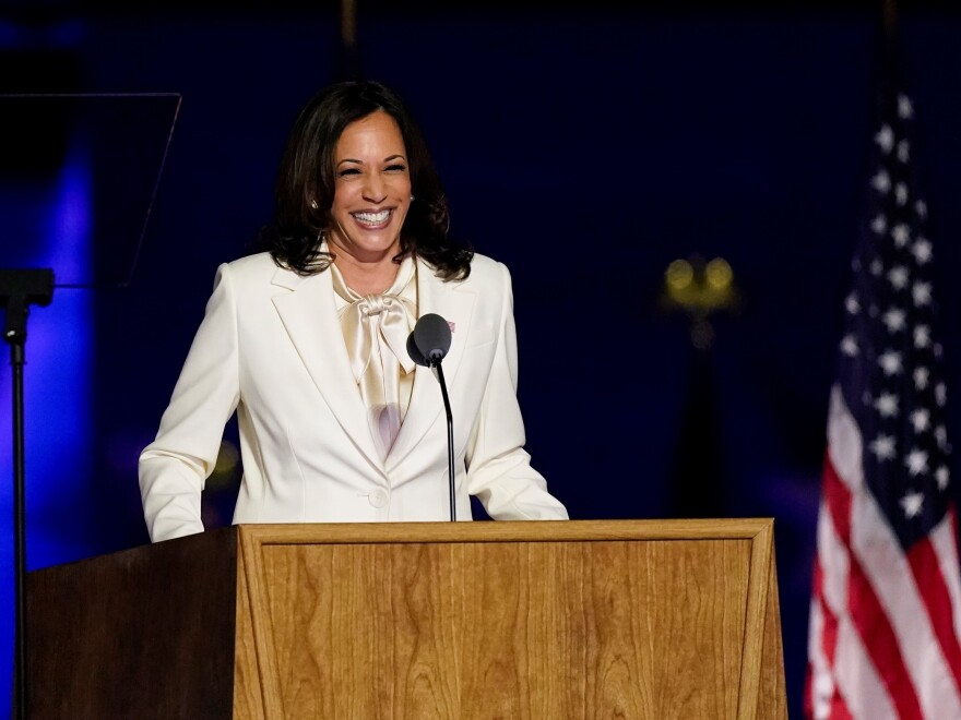 Vice President-elect Kamala Harris speaks Saturday, Nov. 7, in Wilmington, Del.