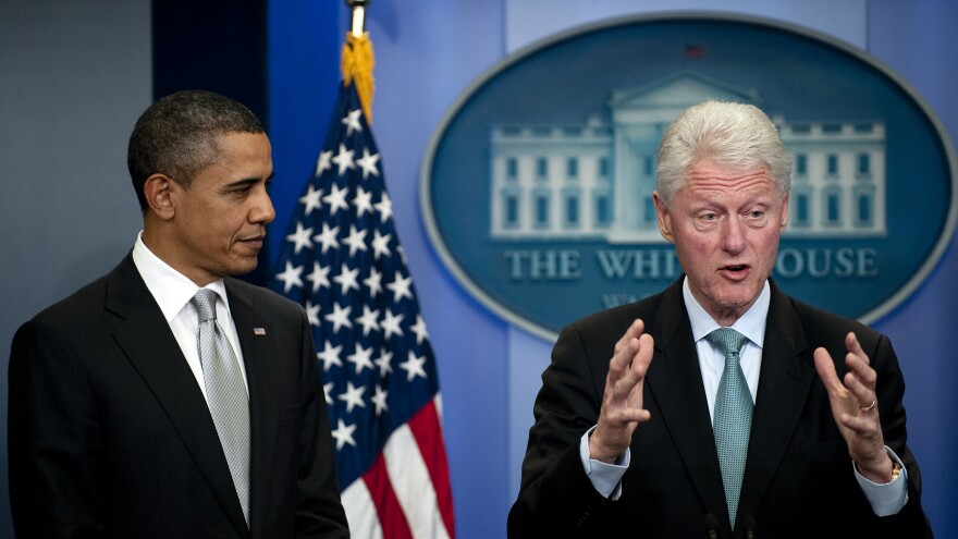 Former President Clinton speaks to the press with President Obama in the White House Briefing Room on Dec. 10, 2010.