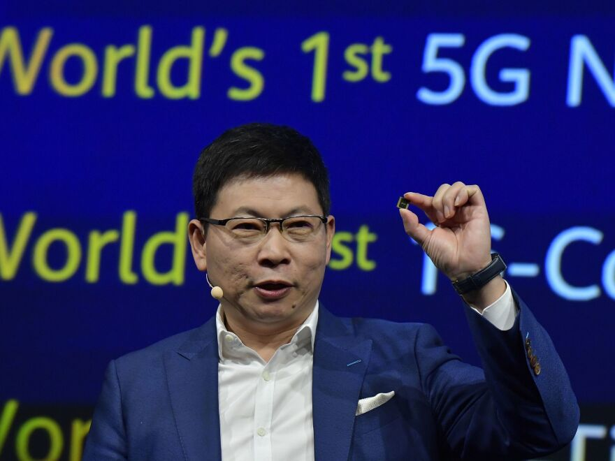 Richard Yu, head of Huawei's consumer business, presents a Kirin 990 5G chip set at the international electronics and innovation fair IFA in Berlin on Sept. 6.