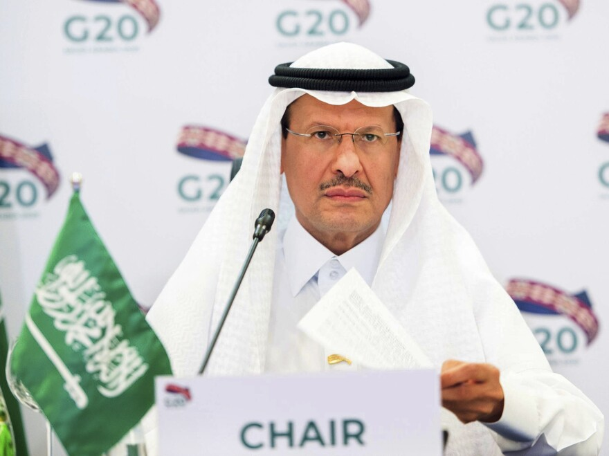 In a photo released by the Saudi Energy Ministry, Prince Abdulaziz bin Salman Al Saud, Minister of Energy of Saudi Arabia, chairs a virtual Group of 20 ministers meeting in April. The Saudi-led OPEC cartel decided to modestly boost production amid considerable uncertainty about the global economy.