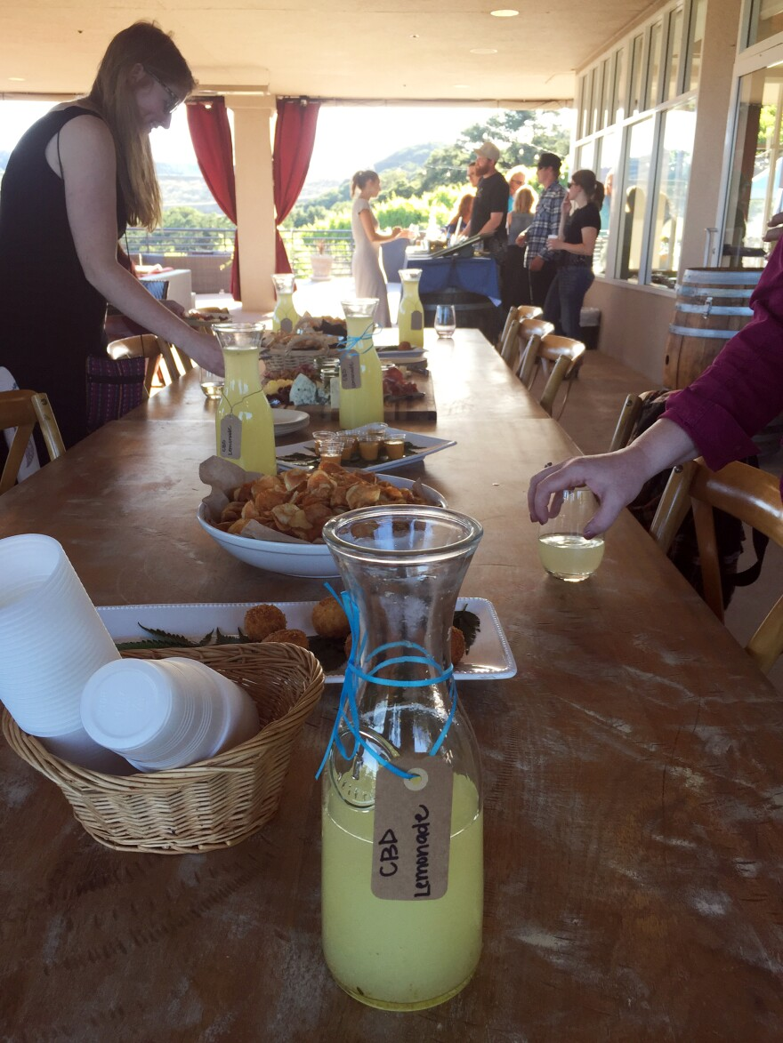 At a wine and weed dinner held at a Northern California winery, the offerings on an hors d'oeuvres table include cannabis lemonade.