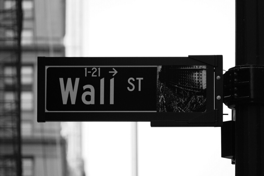 Black and white close up of a Wall Street traffic sign