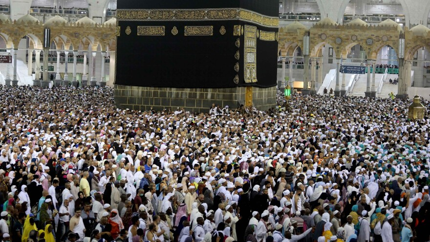 Muslim pilgrims circumambulate the Kaaba during last year's pilgrimage to Islam's holiest sites in Saudi Arabia. This year's hajj is in doubt — and Indonesia has canceled its participation because of COVID-19.