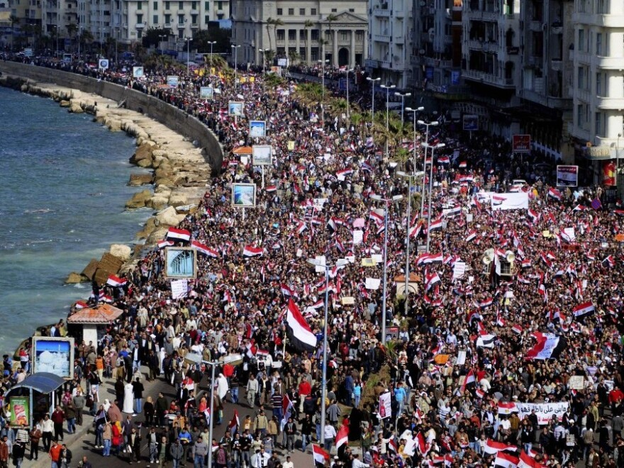 Tens of thousands of anti-government protesters marched in Alexandria, Egypt's second-largest city, on Friday.