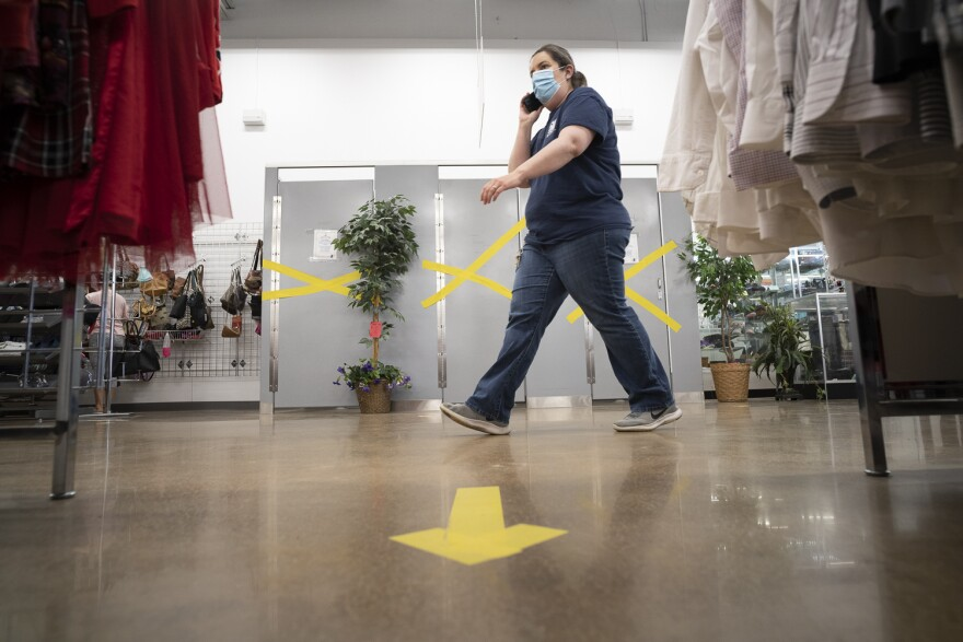 MERS Goodwill stores closed fitting rooms and extended its return policy to two weeks. The store also marked the floors with arrows to direct the flow of shoppers and reduce congestion between the clothing racks. 05/18/20