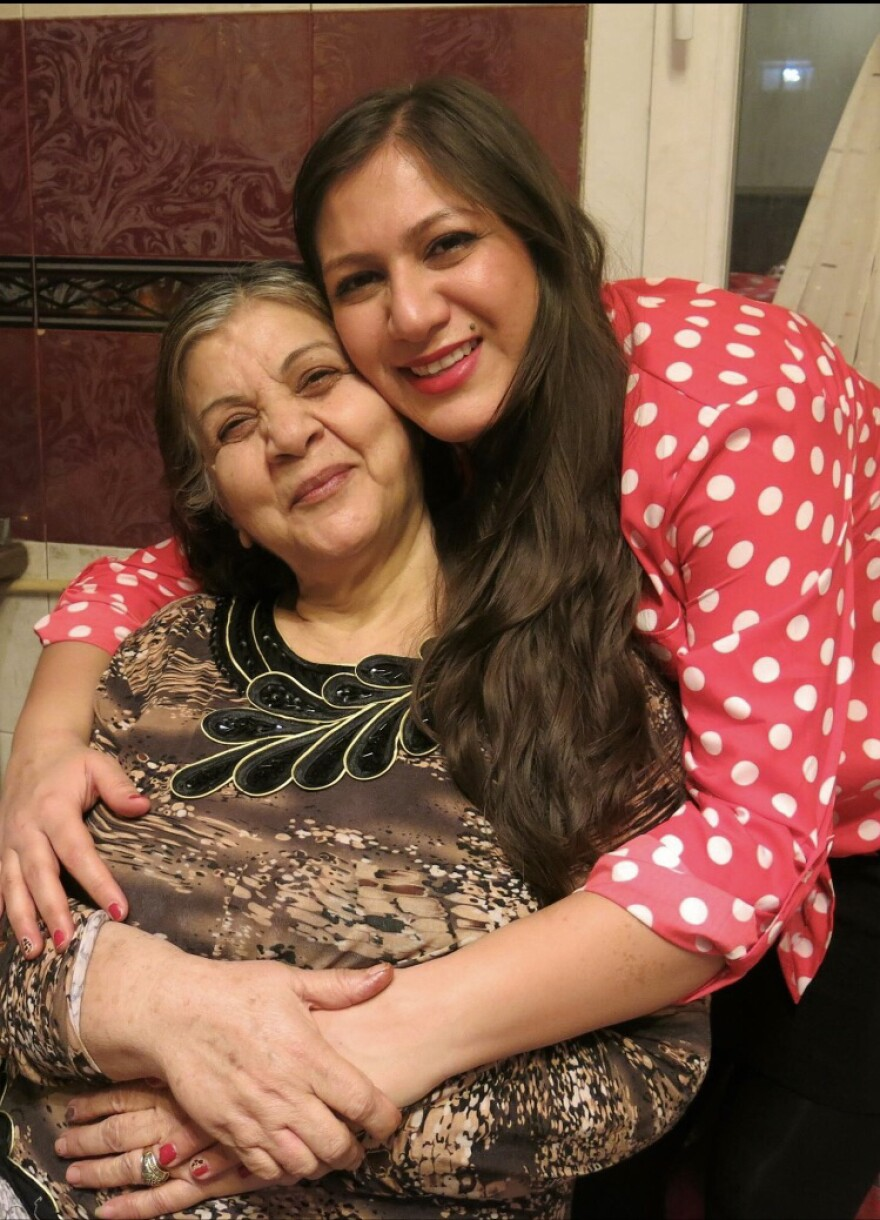 Katayoon Beshkardana (shown here with her mother) has not seen her family in Iran since 2015. She is studying for a doctorate degree in Washington, D.C.