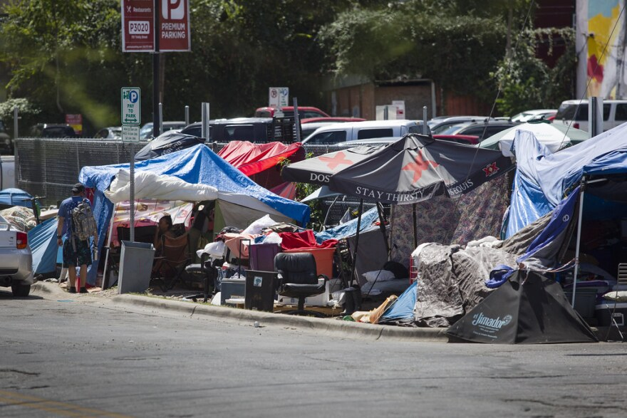 A homeless encampment near the Salvation Army downtown.